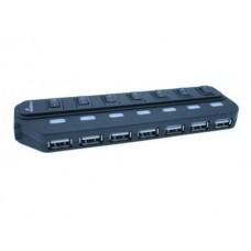 CUBO USB 2.0 MEDIARANGE HUB 1 COM COMUTADORES 7 PORTAS USB PRETO