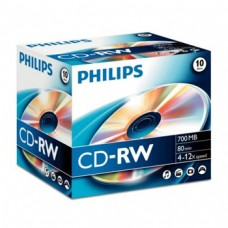 CD-RW Philips 700Mb 4x12x 80min Jewell Case 10